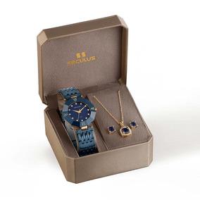 Kit Relógio Feminino Seculus Analógico Azul 23529lpsveq1k1