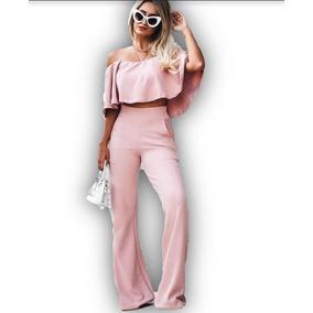 Conjunto Calça Flare + Cropped Moda Casual Social Chic