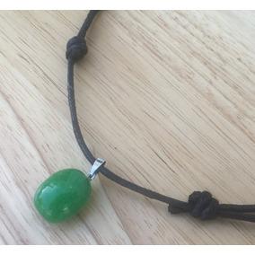 Jade Malayo Huevo Dije + Collar Cuerda Nudo Corredizo Unisex