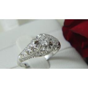 Anel Solitário Vintage De Ouro Branco Diamante De 45 Pontos