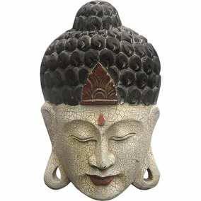 Escultura Máscara Buda Em Madeira Craquelado 50 Cm (13116) 7031f57fdd0