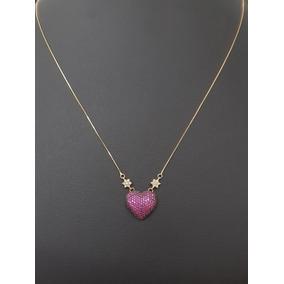 Colar Feminino + Pingente Coração Ouro 18k Cordão Veneziano