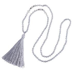 Kelitch Collar Largo Borla Para Mujer Collar Trenzado Perlas