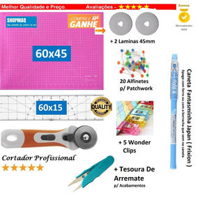 Kit Base Rosa 60x45 +cortador+ Regua 60x15+ Caneta Patchwork