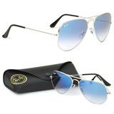 Óculos Ray-ban Aviador Prata Azul Degrade Original Unissex 406361dec8