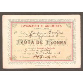 Cartão Nota De Honra Do Ginásio Anchieta, Porto Alegre, 1931