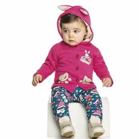 Conjunto Infantil Capuz Pelo Feminino Moletom Elian 01 Ao 03