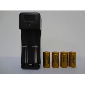 Kit Carregador Duplo + 4 Baterias 16340 3,7v / 4,2v 5800mah