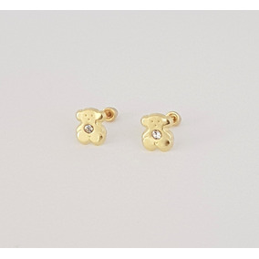 57f03328633a Preciosos Aretes Broquel Bebe De Ositos En Oro Macizo De 10k