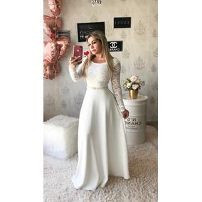 Vestido Longo Gode Casamento Civil Noiva Brinde Cinto Cetim
