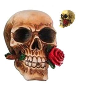 Caveira Resina Red Rose Rosa Vermelha 15cm 1d785d580ff