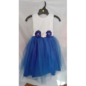 Vestidos blanco con azul rey para ninas