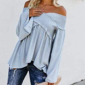 Moda Mujeres Blusa De Slash Cuello Apagado Hombro Llamarada