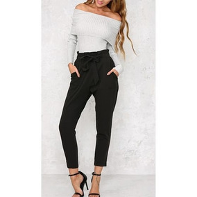 Pantalon Unicolor Lazo Moda 2018 Dama Mujer Tendencia c1a49c67f935