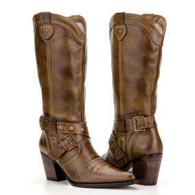 Bota Feminina Country Texana 100%couro Bico Fino 6 Modelos cc9375b35b2