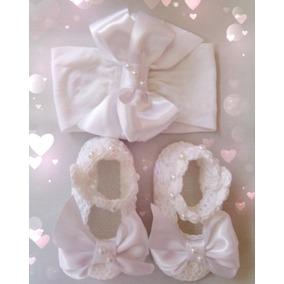 Zapatos Tejidos De Bebé Blanco Con Tiara Moño (bautizo)