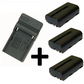Carregador +3 Bateria Np F550 7.4v 2500mah Filmadora Led 160