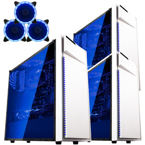 Gabinete Bluecase Pc Gamer Bg-015 Branco + 3 Fan Azul