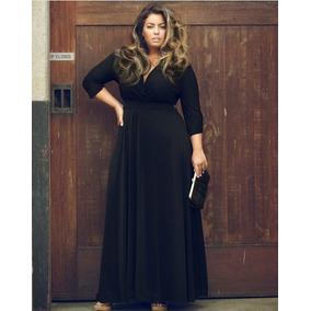 Vestido negro cruzado largo