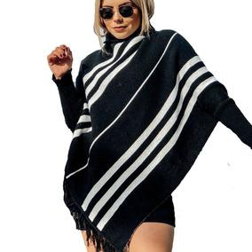 Poncho Sobretudo De Lã Feminino Capa Tricot Tricô Inverno