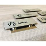 Prendedor Pin Identificador Personalizado Doble Imán 6x2 Cm