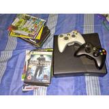 Xbox 360 Slim 4gb Chipeado Lt 3.0 2 Controles + Juegos