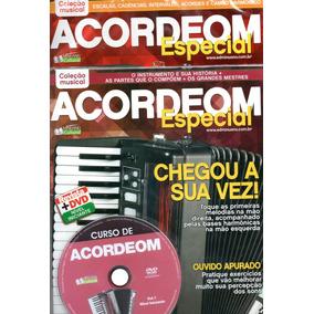 Curso De Acordeon V. 1, 2 Nível Iniciante, Médio Revista+dvd