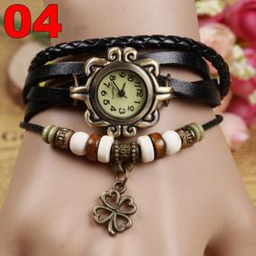 Relógio Pulseira Couro Trevo 4 Folhas Vintage Feminino