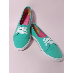 Sneakers Verde Aqua Y Blanco Tenis Casual De Piso Dama