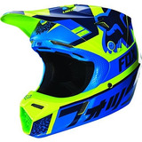 2016 Fox Racing Youth V3 Divizion Helmet (yl, Azul / Verde)