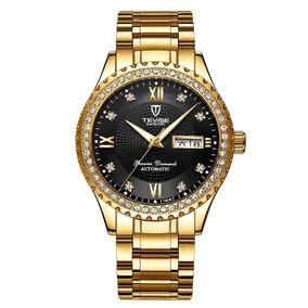 Reloj Hombres Automatico Lujoso Elegante Dorado Negro