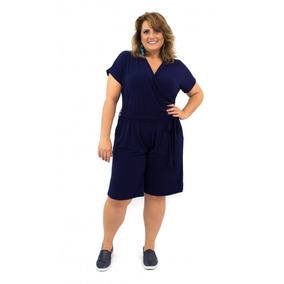 Macaquinho Plus Size Azul Manga Curta Elástico Na Cintura