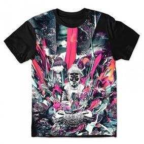 Camiseta Básica 3d Full Unissex Roupa Psicodélica Buda Top