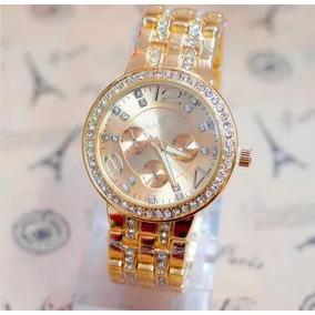 559c167bf1b Relógio Feminino Geneva Pulseira Dourada Com Strass Promoção - Joias ...