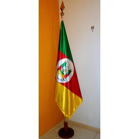 Bandeira Rio Grande Sul Cetim Luxo 90x129cm C/ Base E Mastro