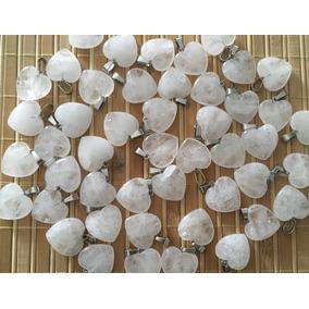 Corazón Cuarzo Blanco Y Cristalino Natural Dije 20mmx20mm