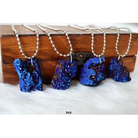 Collar Cuarzo Aura Azul Cobalto Titanio En Bruto Natural
