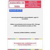 Asesoría De Tesis, Artículos, Proyectos, Trabajos
