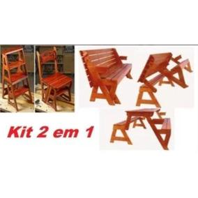 Projeto Kit Cadeira Vira Escada + Mesa Vira Banco .
