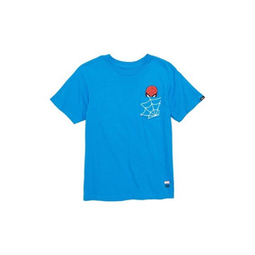 Playera Vans Edicion Marvel Spiderman Niño Azul Look Trendy