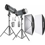 Kit Flash De Estudio 600w (2x300w) Con Transmisor Incluido