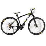 Bicicleta Aro 29 Freio À Disco Shimano 21v Preta/verde Qgk