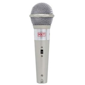 Microfone Mxt M-996 Plástico Prata Com Fio 3 Metros
