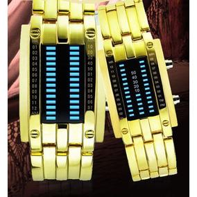 Relógio Bracelete Led Digital Dourado