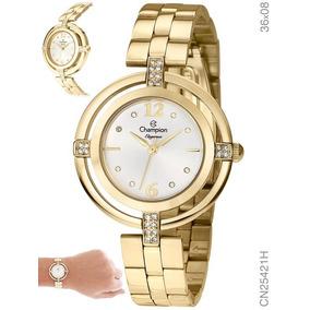 12ab95f8d4f Relógio Champion Feminino Dourado Elegance Cn25421h Com Nota