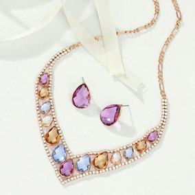 Collar Y Aretes Con Cristales Austriacos + Bolsa Terciopelo