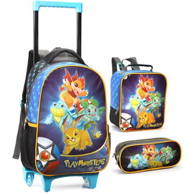 Kit Mochila Escolar Infantil Playmonsters C Rodinhas Novo