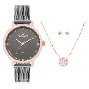 Relógio Feminino Technos 2035mmo/k5c Colar E Brincos