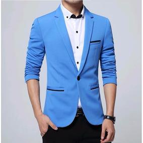 4238b631eb Blazer Azul Esc. Slim Masculino - Formal casual - Elegance