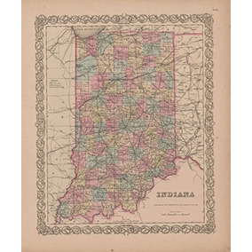 Indiana Vintage Map Gw Colton 1855 Original Indiana Decor Hi 1f6b9d2cf82